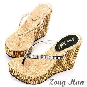 ae247fb2f52beb Bling Style High Heels Wedge Slippers Flip Flops Black Gold