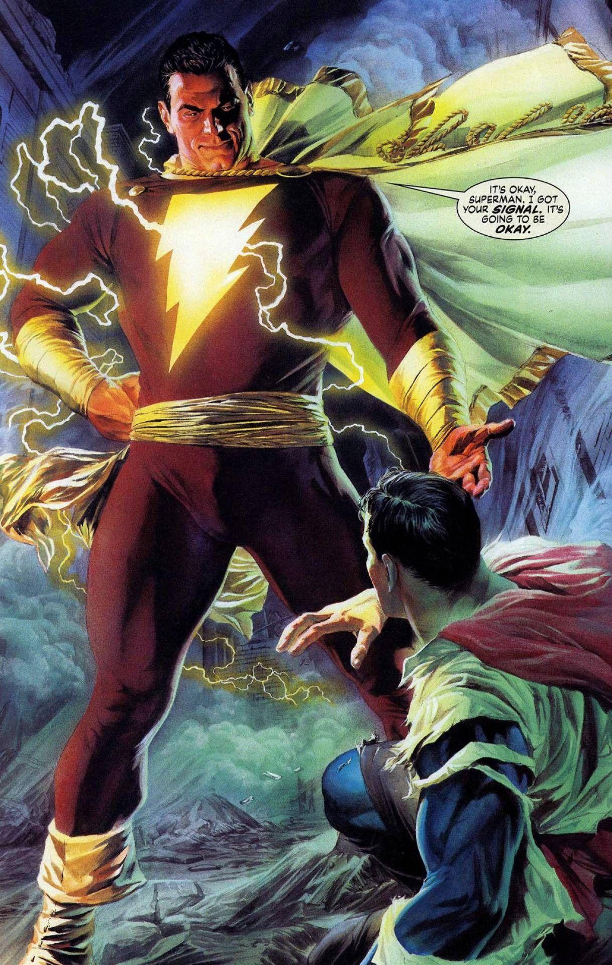 Shazam Fan Art Captian Marvel Helps Superman By Alex Ross