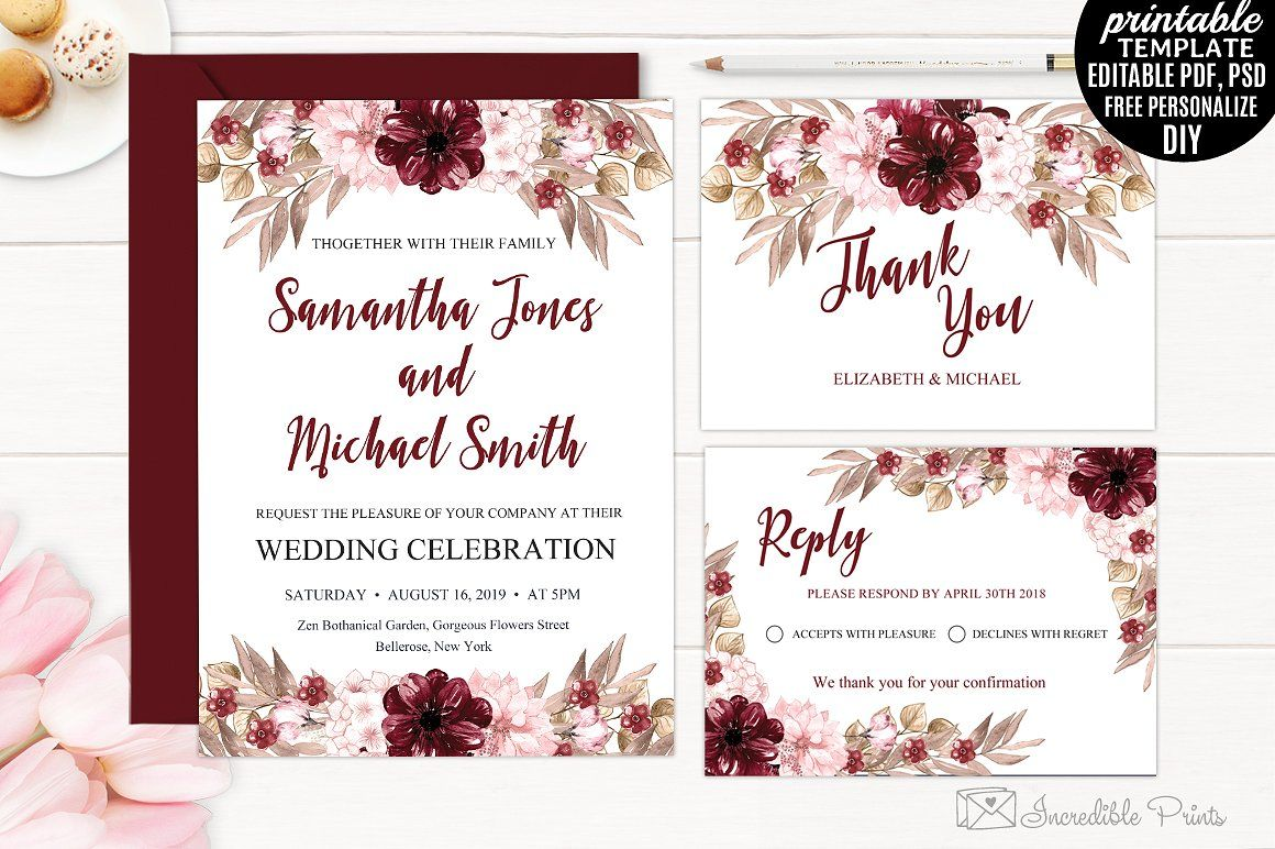 Marsala Wedding Invitation Template  Free wedding invitation