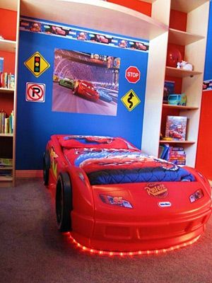 miniature traffic signs amazing shelves are awesome don 39 t like the cars movie theme but his. Black Bedroom Furniture Sets. Home Design Ideas