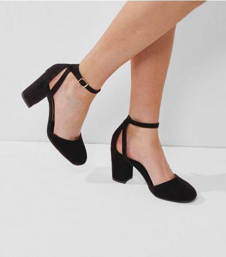 732951ab74a Wide Fit Black Suedette Ankle Strap Heels