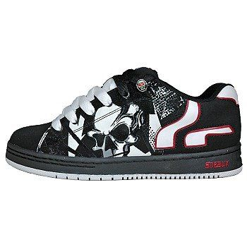 23b4bd9209 Sneaux Shoe- Neat black and white skull design that blends in with the  other black and white elements. Nice spot color of red to make the company  stand out