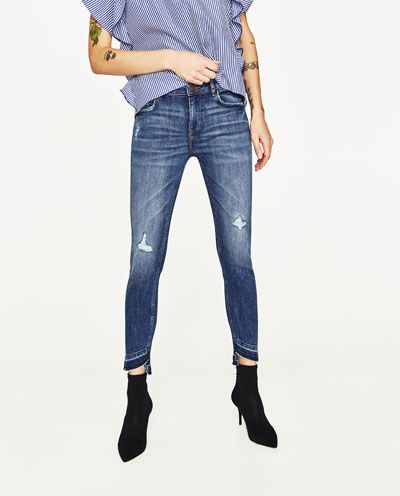 debd88641a40 Image 2 of MID-RISE JEANS WITH UNEVEN HEM from Zara   Female models ...