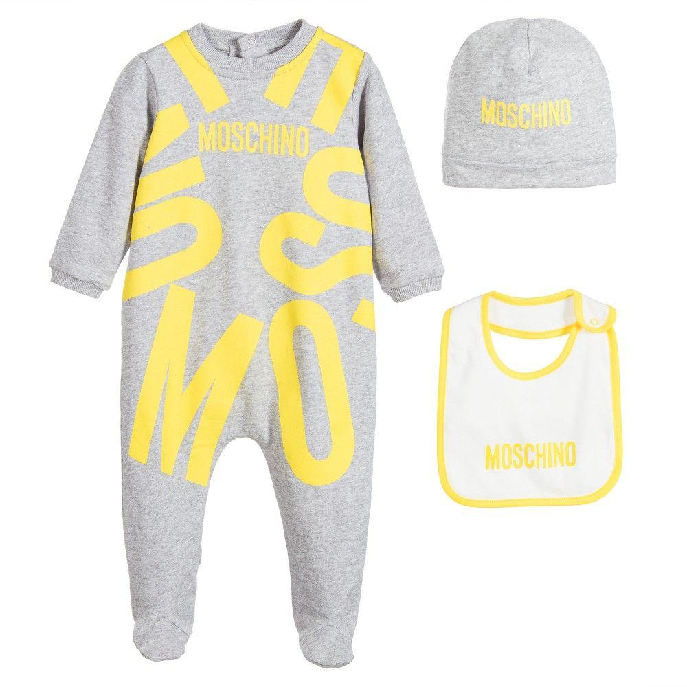 b5aa985fe Moschino Baby - Grey 3 Piece Babygrow Gift Set