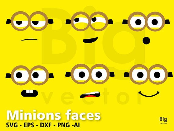 Minions Faces Svg Png Eps Ai Dxf Minion Face Despicable Me Animasi