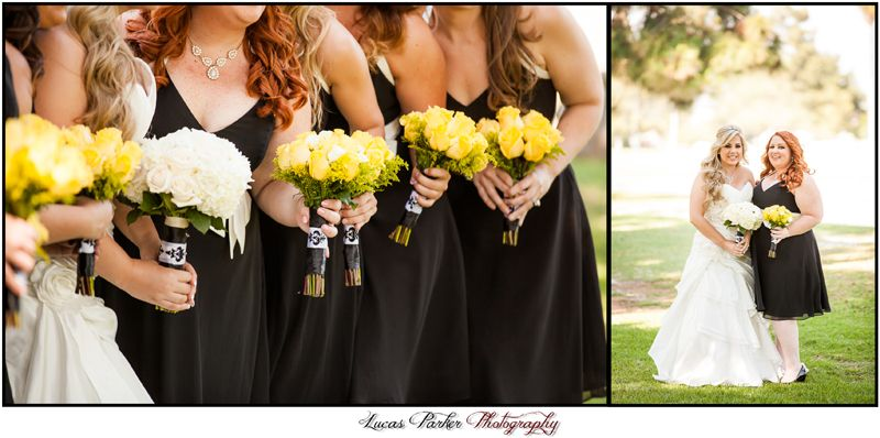 yellow, black and damask wedding.  Bouquets of yellow roses