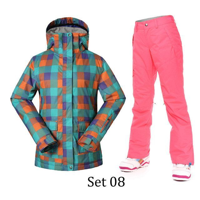 c9c019db6b Gsou Snow Winter Ski Suits Women Thermal Super Warmth Snowboard Jacket and  Pants Cotton Waterproof Windproof