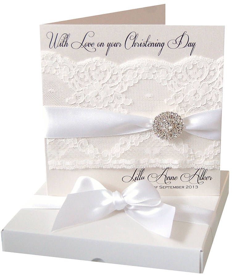 Lace And Crystal Luxury Christening Card Personalised ...