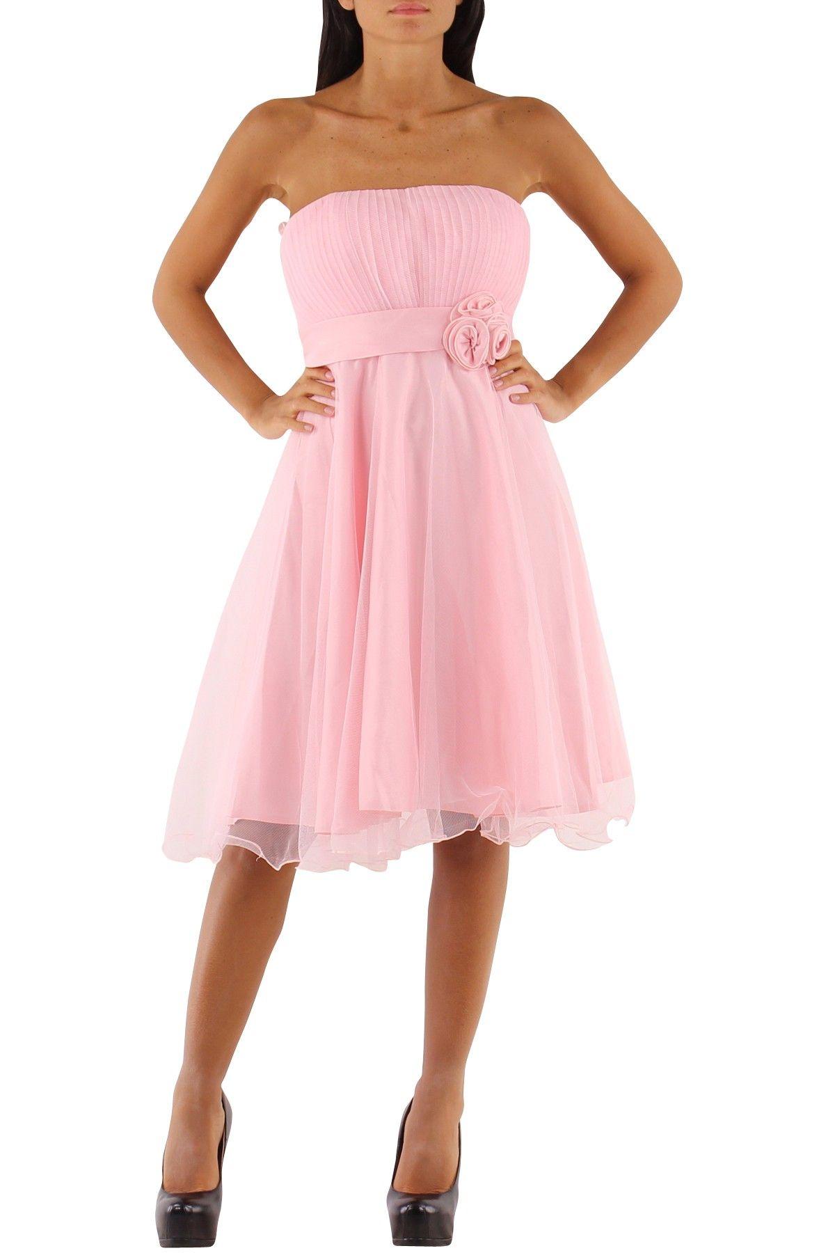 vestido corto de fiesta con escote palabra de honor y falda de vuelo ...
