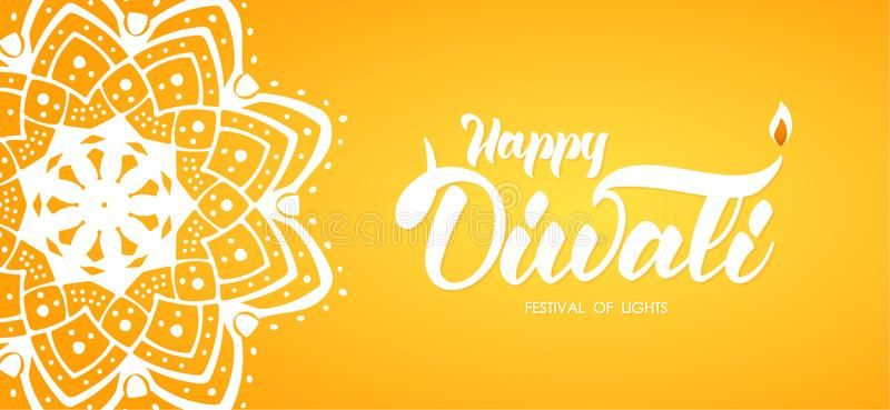 Hand Drawn Type Lettering Of Happy Diwali. Greeting Card Wit Indian Ornament And Lamp On Orange Background. Stock Vector - Illustration of indian, fire: 122344329