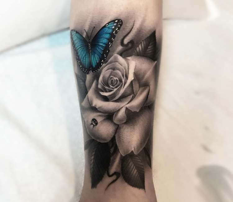 Butterfly and Rose tattoo by Mike Flores