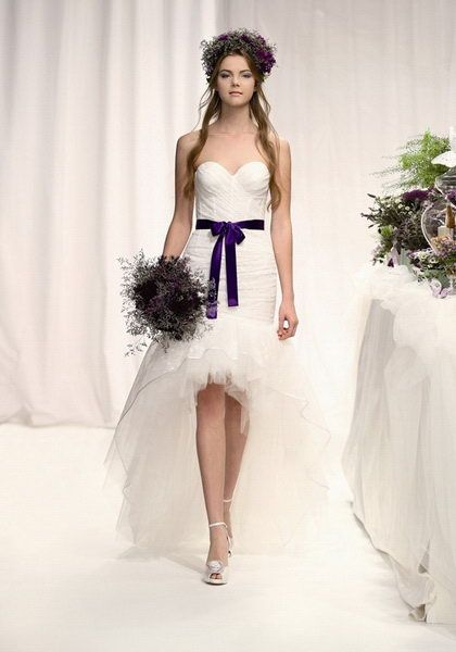 Strapless Sweetheart Neckline Flattering White High Low Wedding Dress With Purple
