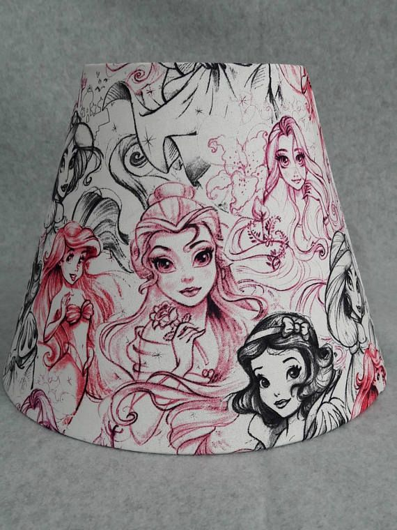 Disney Princess Lamp Shade Snow White Ariel Jasmine Rapunzel