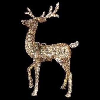 60 In Led Lighted Gold Pvc Animated Standing Deer Christmas
