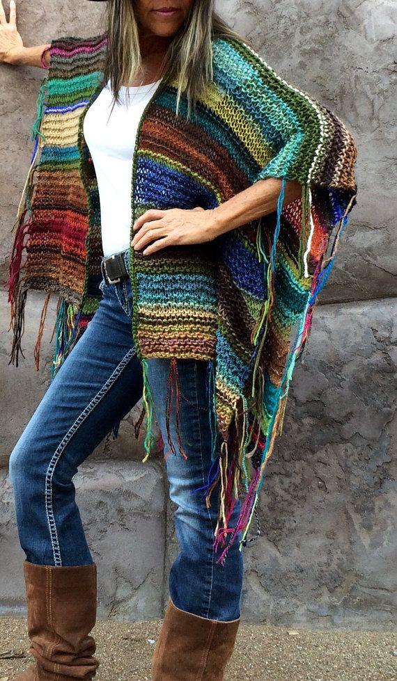 Hip Length Knitted Womens Bohemian Festival Hippie Beach ...