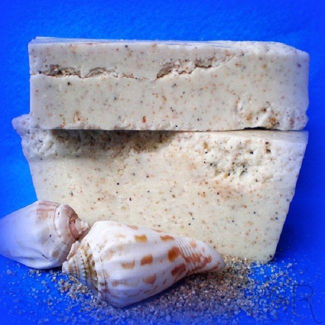 Jabón con arena de playa                                                                                                                                                                                 Más