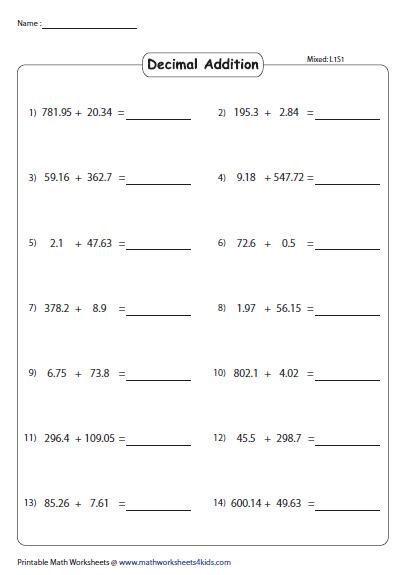 Horizontal Addition Revision Worksheets Addition Worksheets Decimals Addition Decimals