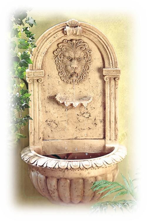 Royal Lion\'s Head 30 Inch Decorative Beige Outdoor Wall Fountain ...