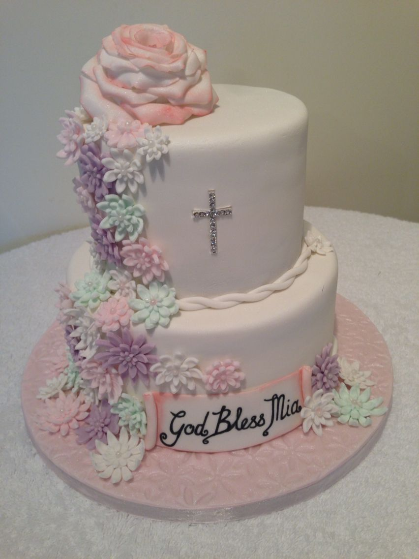 First Communion Cake In Pastel Colours With Sugar Flowers With