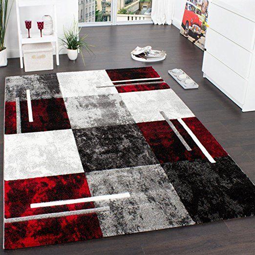 Designer Teppich Modern mit Konturenschnitt Karo Muster Grau Schwarz - wohnzimmer creme rot