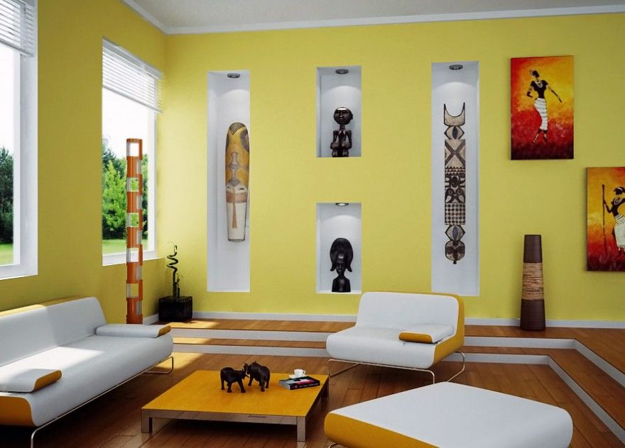 Contamporary living room designs with vibrant colors & african arts ...