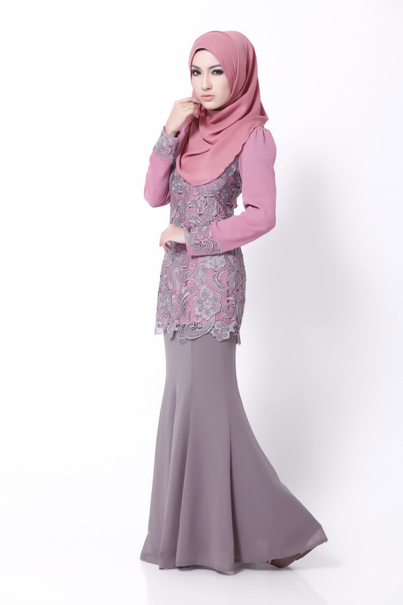 Prada Lace Pink Grey  Muslim women fashion, Dress muslim modern