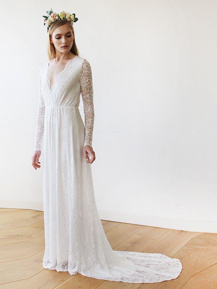Sale Ivory Train Wedding Dress Wrap Bohemian Lace Wedding Etsy Long Sleeve Bridal Dresses Long Sleeve Wedding Dress Lace Wrap Wedding Dress [ 1120 x 839 Pixel ]