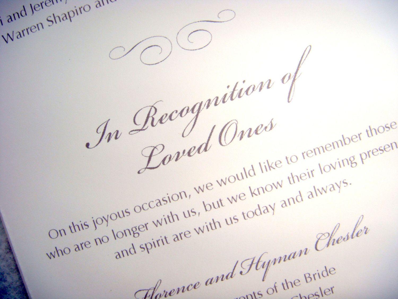In Loving Memory Wedding Program