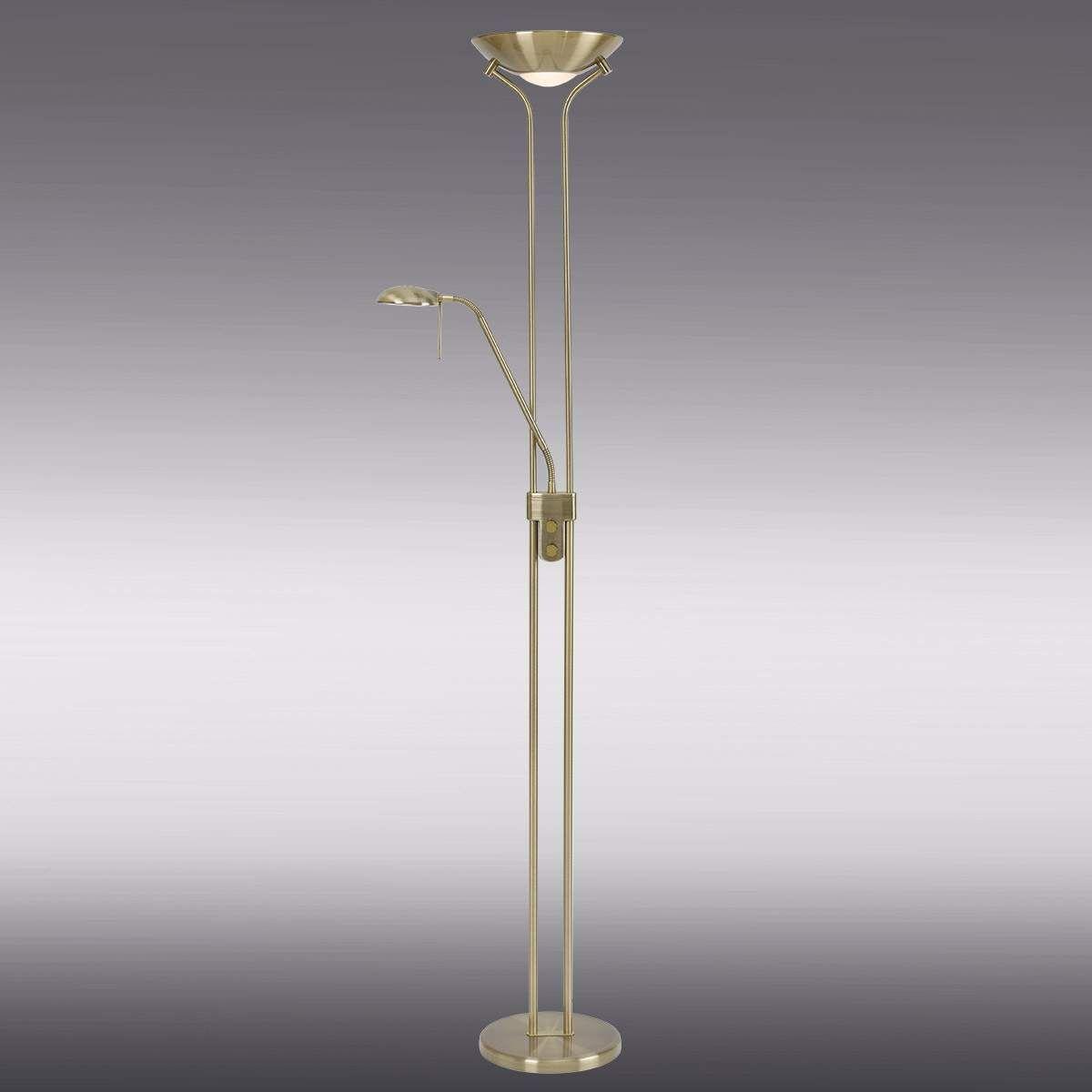 Globo Stehleuchte Design silber Stehlampe Leseleuchte Lampe Wohnzimmer Wohnraum