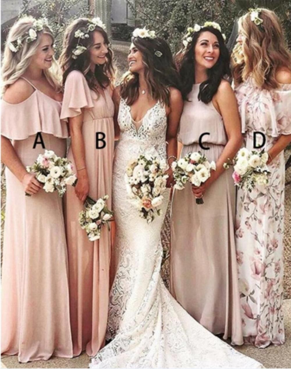 Mismatched Blush Pink Cheap Long Bridesmaid Dresses Online Wg339