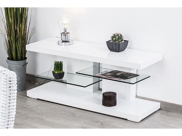 meuble tv bas en bois avec tablettes en