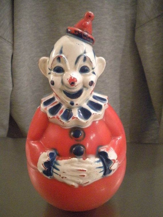 Vintage 1940s Roly Poly Celluloid Clown Toy By Annetiques1