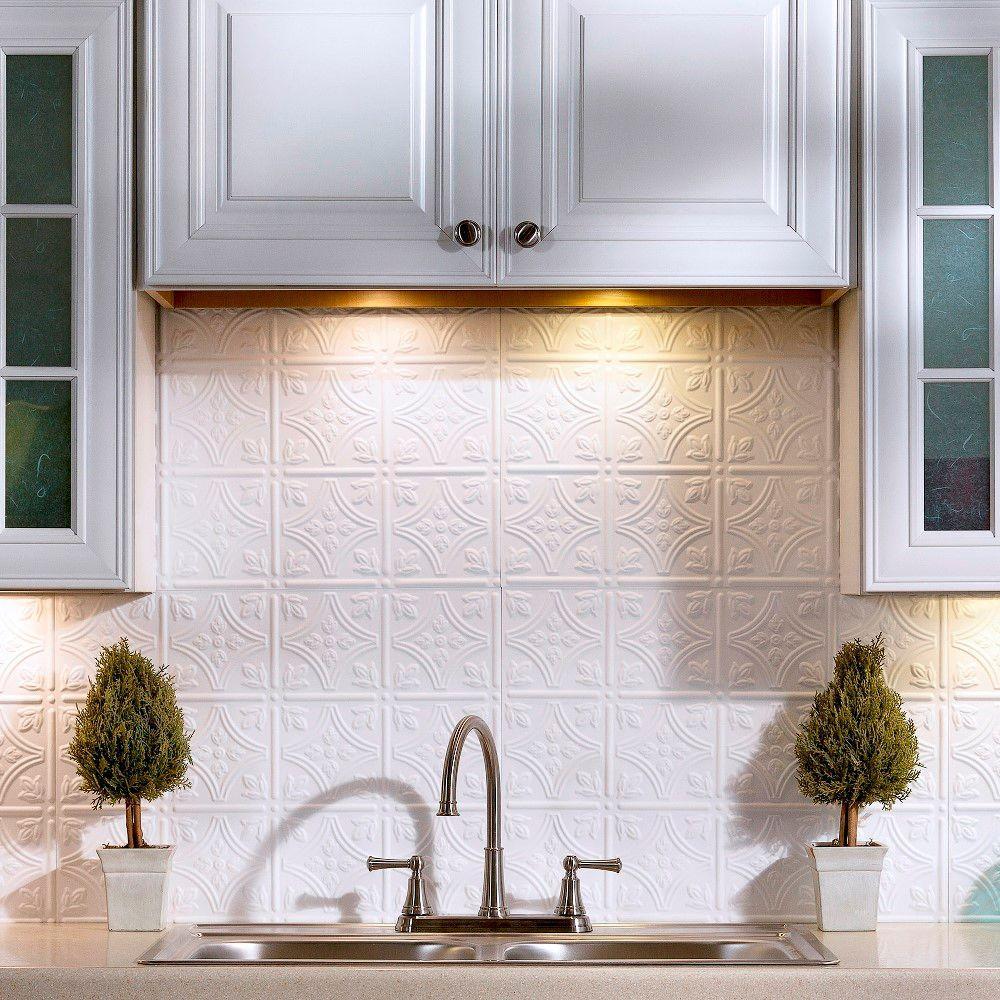 Wonderful Traditional 1 PVC Decorative Backsplash Panel In Matte White Idea