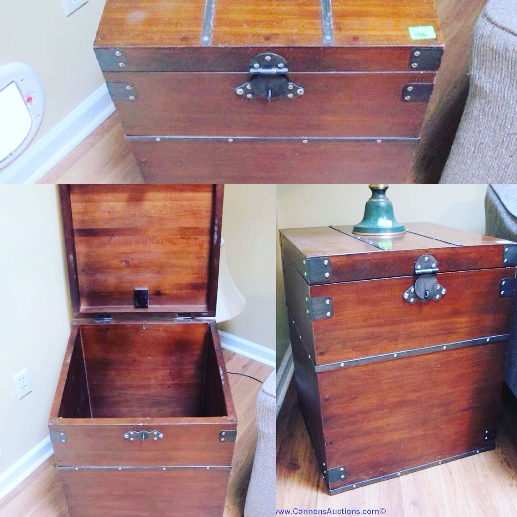 Mahogany Storage Trunk/side Table With Metal Detailing. Bids Close Sun, 23  Oct
