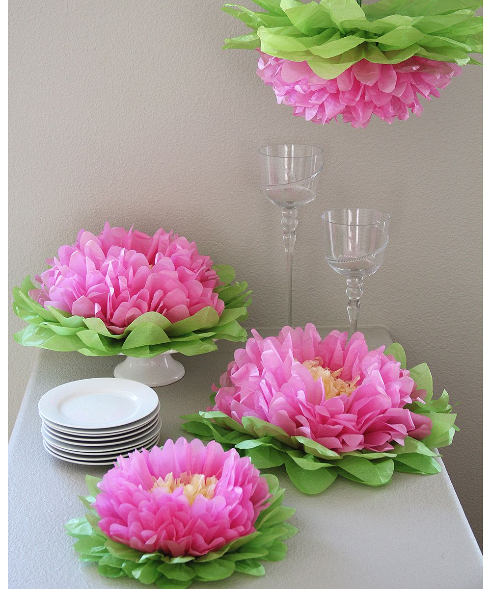 Light Pink Flower Pom Pomste With Frogs And Lily Pads For A