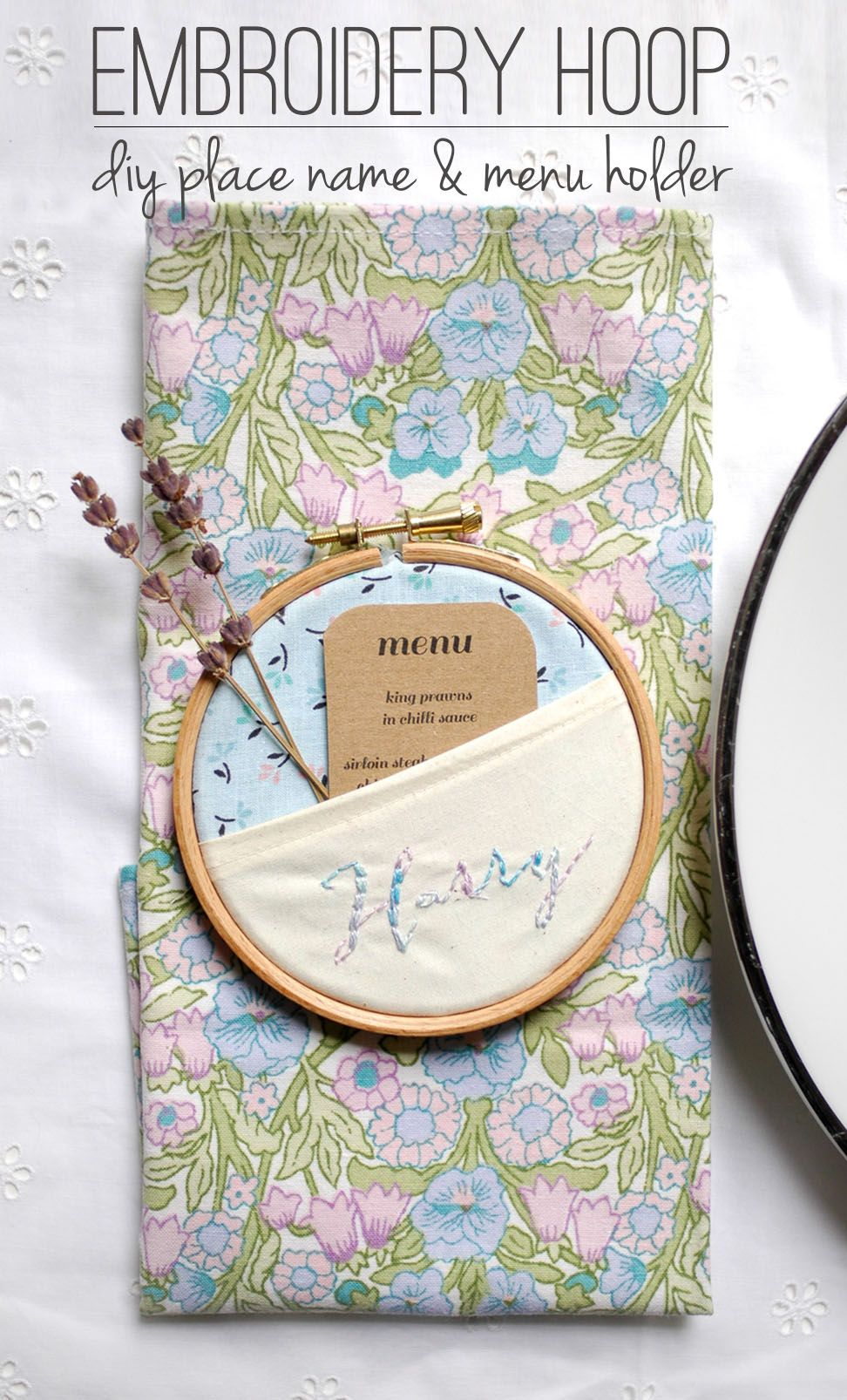Diy embroidery hoop place names party entertaining