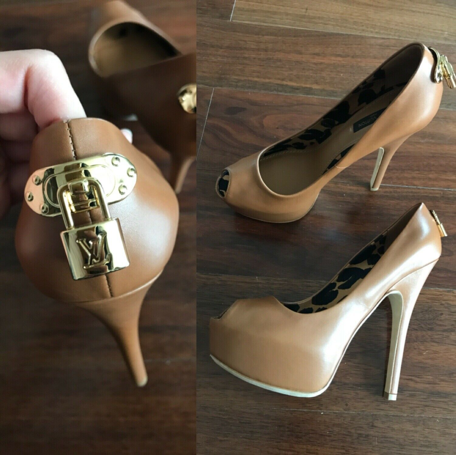 79aa92c10cac New LOUIS VUITTON Oh Really Brown Leather Lock Heels Peep Toe Pumps SZ 37.5