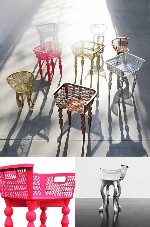 Diy c mo hacer sillas con cestas ce pl stico cestas for Sillas para viejitos