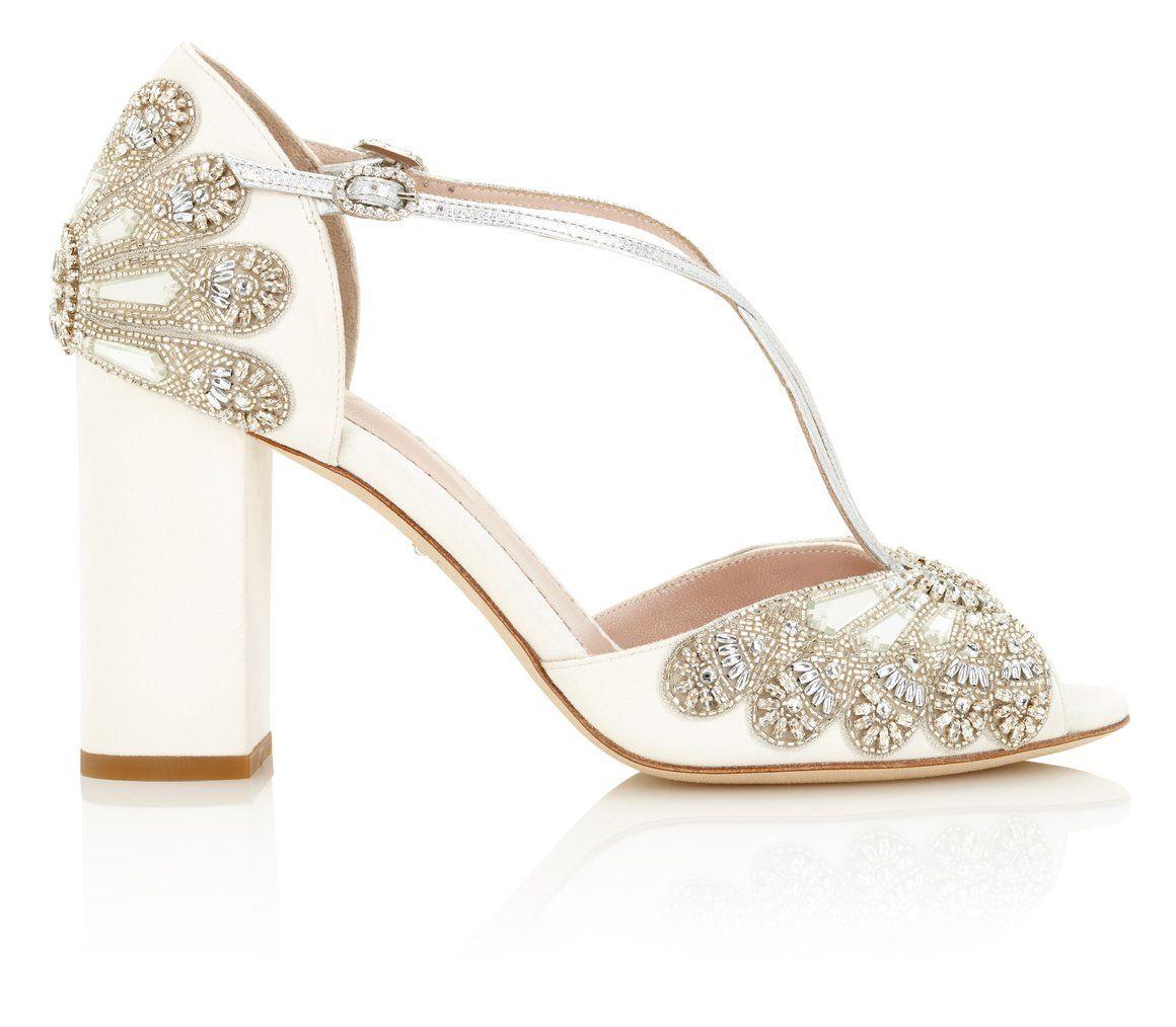 5f81094ad58 Cinderella Block Heel Bridal Shoes Ivory Suede Embellished Wedding Sandal  with Silver Details  emmylondon