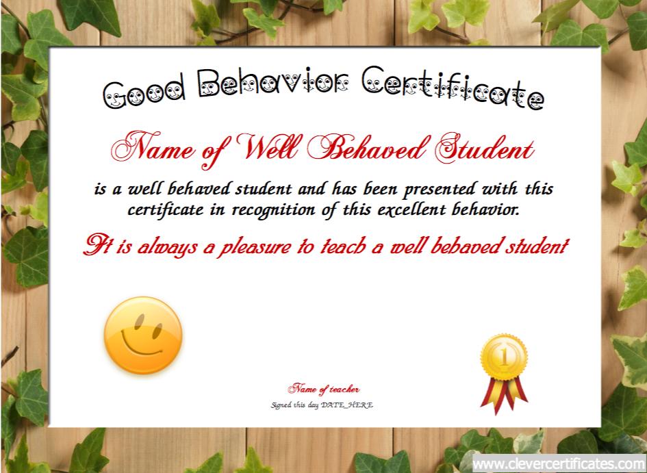 Good Behavior Certificate. Awards to #congratulate, #motivate and ...