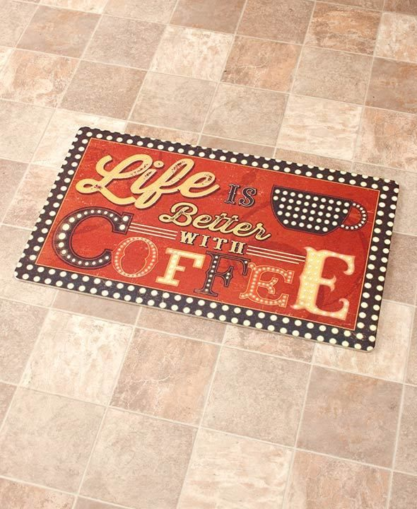 Kitchen Floor Mat Life Is Better With Coffee Novelty Cushioned Floor Mat