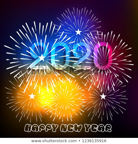 Image vectorielle de stock de Happy New Year 2020 Background Fireworks 1236135916