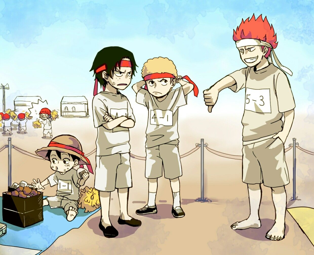 Ace, Sabo, Luffy, funny, Kid, young, childhood, school, gym