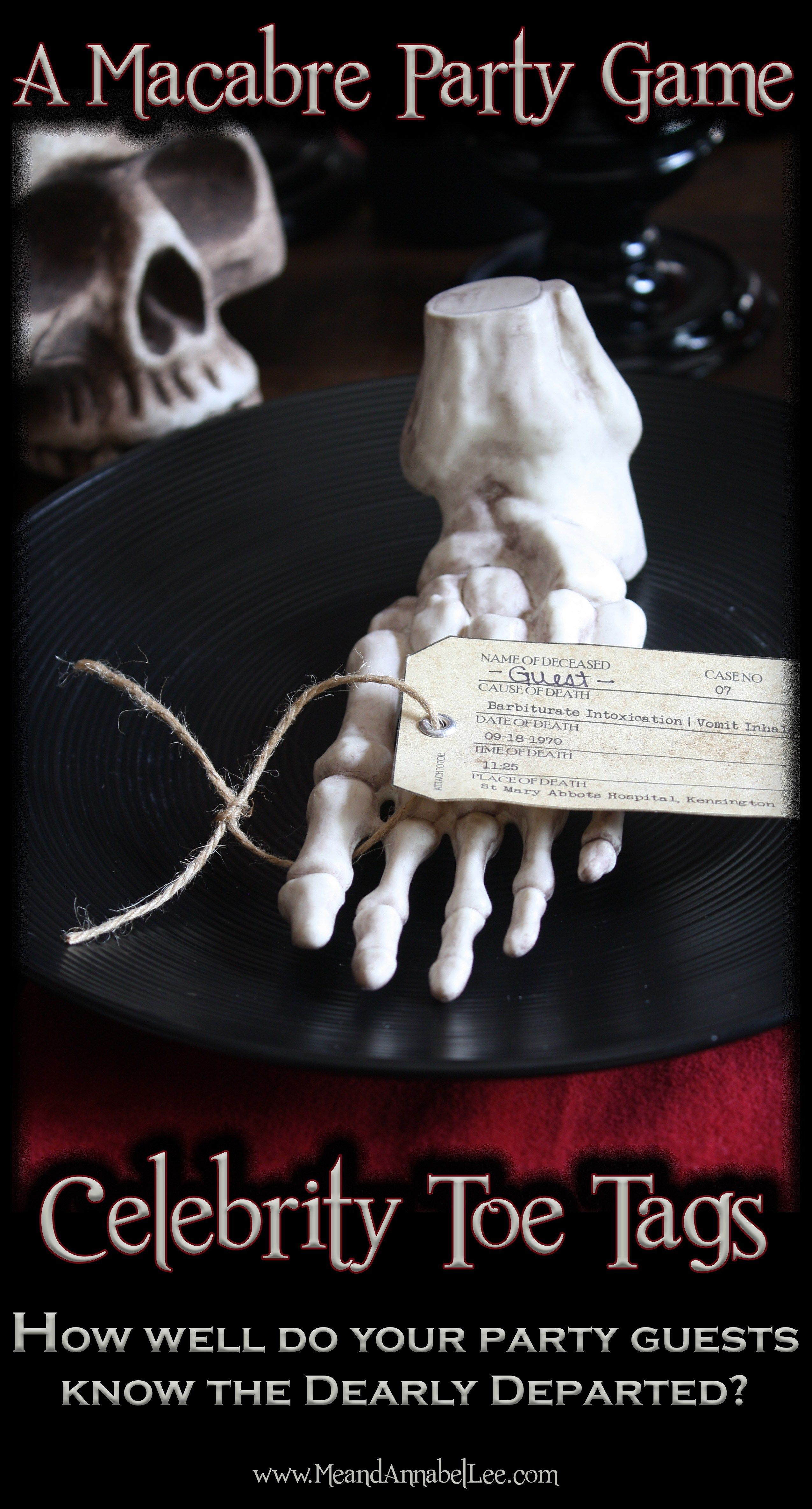 Dinner Party Game Ideas For Adults Part - 50: Halloween Adult Party Game | Celebrity Toe Tags | Famous Deaths Trivia |  Www.MeandAnnabelLee