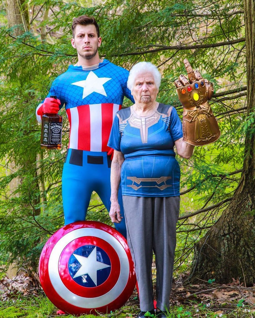 Photo of 93-Year-Old Grandma & Her Grandson Dress-Up In Ridiculous Outfits, And People Love It (30 Pics)