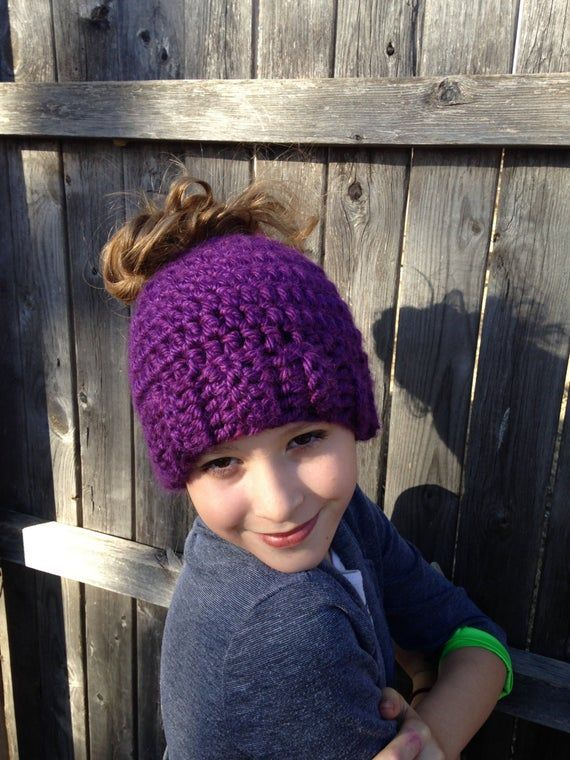 Adult or Child Messy Bun Beanie, Pony Tail Hat, Messy Bun Hat, Crochet Beanie, Purple Beanie, Kids B #messybunhat