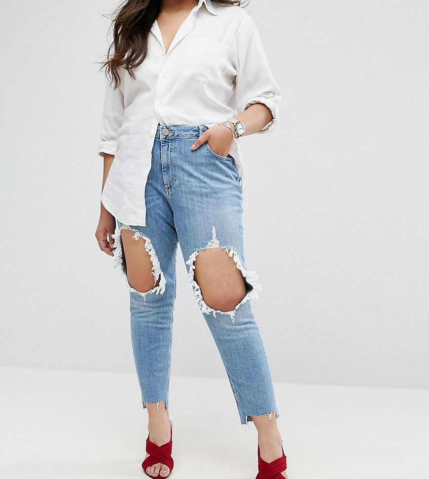 f3aab923ed703 ASOS CURVE Kimmi Boyfriend Jean in Lillian with Rips and Stepped Hem -