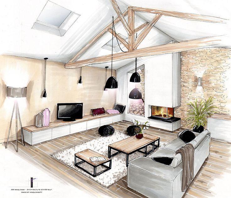 Déco salon conception et décoration dune cuisine entrée et pièce à vivre naintré 86 am esquisse architecte dinterieur