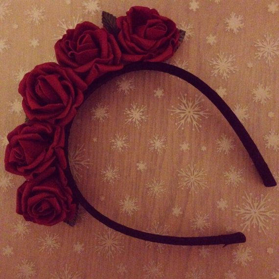 Red Rose Floral Headband by LittleHomeMakes on Etsy, £10.00