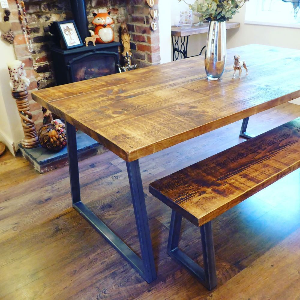 Industrial Style Dining Table And Bench Set Rustic Industrial